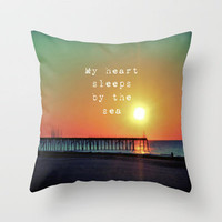 My Heart Sleeps By The Sea Throw Pillow by Ally Coxon | also available as iphone case|skins|cards and more at Society6
