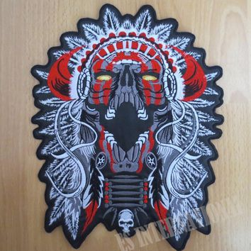 11 inches Indian Chief Skull large Embroidery Patches for Jacket Motorcycle Biker 28CM*22CM