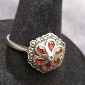 Art Deco garnet sterling silver ring garnet flower petals with marcasite accents size 8 and 1/2