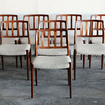 Stunning Rare Set of 8 Mid Century Danish Brazilian Rosewood JL Moller Dining Chairs