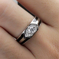 Mens Womens Casual Adjustment Silver Ring Diamond Hight Quality Love Jewelry Best Gift Rings-70