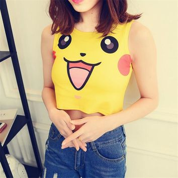 Anime Harajuku Sexy Girls Cosplay Costume Pokemon Go Pocket Monster Sailor Moon Crystal Crop Tops Vest Tank Tops Shirt 7 styles