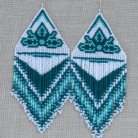 Extra Large Earrings. Native American Earrings Inspired. White, Turquoise Green and Teal Earrings. Dangle Very Long Earrings. Beadwork