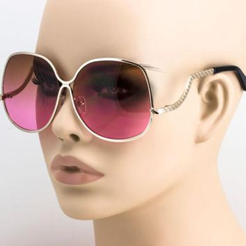 FREE BAG Elite Inspired Oversized Oval Low Temple Upside Down Fashion Sunglasess