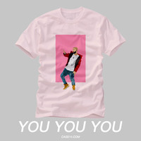 Drake Hotline Bling Dance Illustration Pink Crew Neck T Shirt
