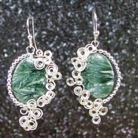 Scroll work boho earrings, sterling and seraphinite | bohowirewrapped - Jewelry on ArtFire
