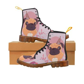 Pug Birthday Lace Up Martin Boots for Women