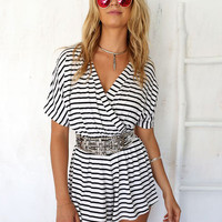 Black and White Striped V-neck Short Sleeve Romper