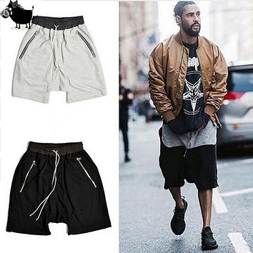 Man Si Tun 2017 Streetwear Hip Hop dance clothes stage clothing for Men short men stretch cotton fear of god sweat jogger shorts