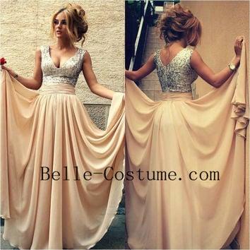2016 Prom Dress, Chiffon Sequin Long Prom Dress, V Neck Champagne Sequin Long Prom Dresses