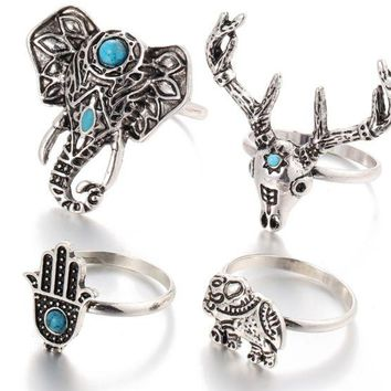 ONETOW Retro tail ring Bohemian wind elephant deer head unicorn palm turntable ring ring four sets