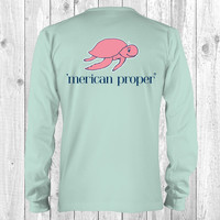 Merican Proper Collection Classic Turtle Logo Celedon Long Sleeve T Shirt