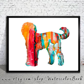 Goldendoodle 4 Watercolor Print, Goldendoodle Art, Home Decor, dog watercolor, watercolor painting, animal art, animal watercolor, dog art