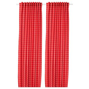ROSALILL Room darkening curtains, 1 pair - red/white - IKEA