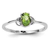 Sterling Silver Diamond And Peridot Oval Ring