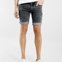 BLACK ACID WASH SPRAY ON DENIM SHORTS