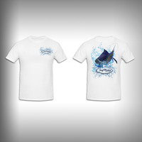 Unisex Short Sleeve Tshirt Custom Full Color Graphics - Sail Fishing