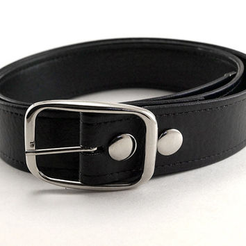 Plain Black Vegan Belt - All Sizes in Stock - Made in USA- For Him or Her