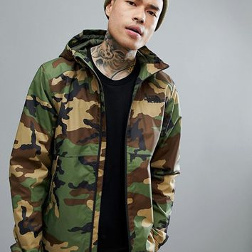 The North Face Millerton Jacket Hooded Waterproof In Green Camo Print at asos.com