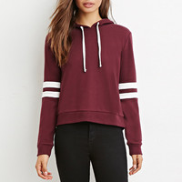Burgundy Drawstring Striped  Knit Hooded Sweatshirt