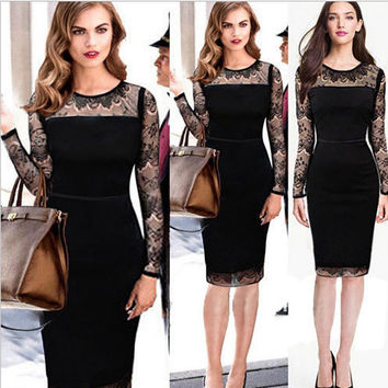 Fashion Lady Lace dress long sleeve round collar
