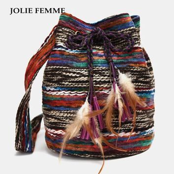 JOLIE FEMME Women Bohemia Handmade Knitting Shoulderbag Fashion Woman Feather Bucket Bag Vintage Drawstring Shoulder Tassel Bag