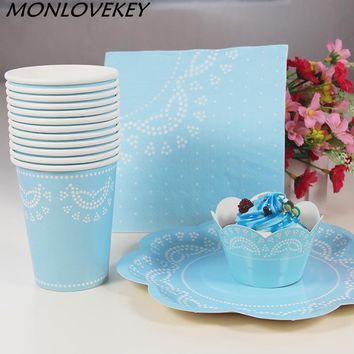 56pcs Blue Lace Dinner Paper Tableware Set Wedding Supplies Plates Cups Cupcake Wrappers Carnival Party Decor Supplies Tableware