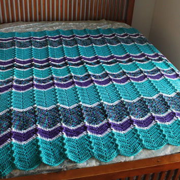 Afghan - Handmade Ripple Crochet Blanket -Turquoise, Purple, and Peacock