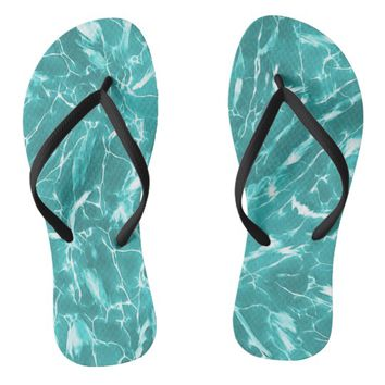 Abstract Water Design Flip Flops