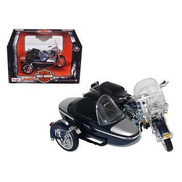 2001 Harley Davidson FLHRC Road King Classic with Side Car Black Motorcycle Model 1/18 Diecast Model by Maisto
