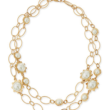 Gear-Bezel Pearl Station Necklace - Tory Burch