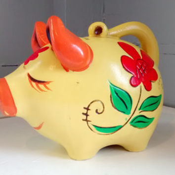 Vintage, Piggy Bank, Coin Bank, Kids Bank, Clay Bank, Folk Art, Floral, Collectable, RhymeswithDaughter