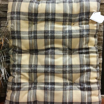 Plaid, Dog Bed, Tan, Brown, Black, Fleece, Pet Bed, Cat Bed, Pet Pillow, Washable Dog Bed, Pet Supplies, Pet Furniture, FREE SHIPPING