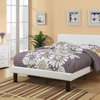 Cream faux leather padded Full size bed frame with Headboard ,13 slats and rails and footboard