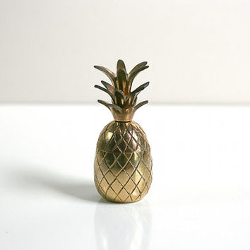 Vintage Hollywood Regency Small Brass Pineapple Container or Trinket Box