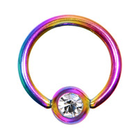 "16 Gauge 5/16"" Austrian Crystal Rainbow Titanium BCR Captive Ring 