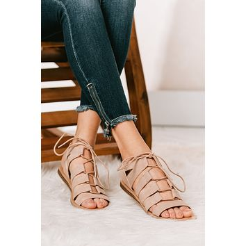 Easy Street Strappy Lace Up Sandals (Distressed Blush)