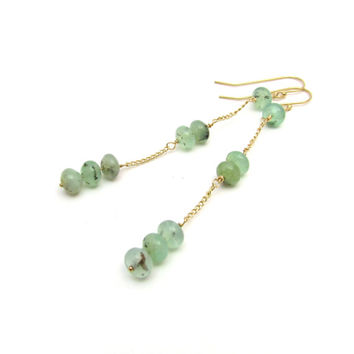 Chrysoprase earrings, long gemstone earrings, delicate green earrings, gold chrysoprase jewelry, chain drop earrings, green bohemian jewelry