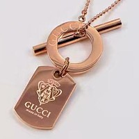 GUCCI New Popular Cool Women Men Rose Golden Pendant Lovers Necklace Simple Collarbone Chain Accessories Jewelry I-HLYS-SP