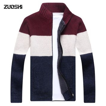 2017 New Stand Collar Sweater Men Autumn Winter Splice Sweater Men's Casual Coat Cardigan Thickening Wool Jacket M-3XL S262-1