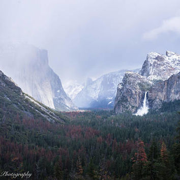 Yosemite Winter Wall Art Print -- Fine Art landscape photography, Waterfall, California, Forest, Home Decor, HeatherRobersonPhoto