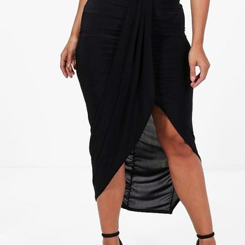 Plus Renee Ruched Wrap Front Maxi Skirt | Boohoo