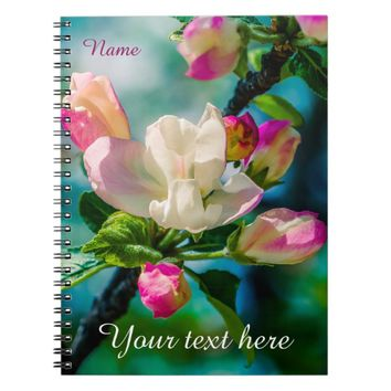 Crabapple flower and buds spiral notebook