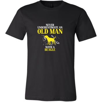 Beagle Shirt - Never underestimate an old man with a Beagle Grandfather Dog Gift