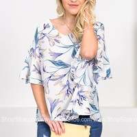 Blue Tropical Ivory Top