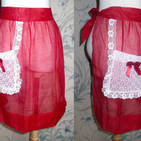 Vintage Red Valentine's Day  Lace Apron