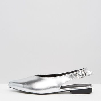 New Look Metallic Slingback Shoe at asos.com