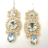 TWINKLE soutache earrings in ivory with clear and AB crystals