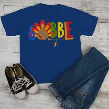 Kids Gobble T Shirt Turkey Shirts Gobble Tee Arrow Feathers Cute Thanksgiving TShirt Boy's Girl's Toddler