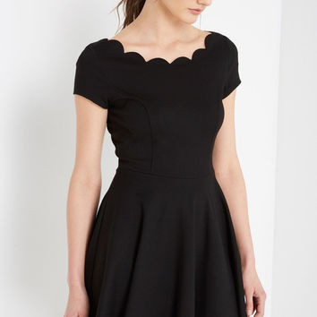 Black Scallop Fit and Flare Dress